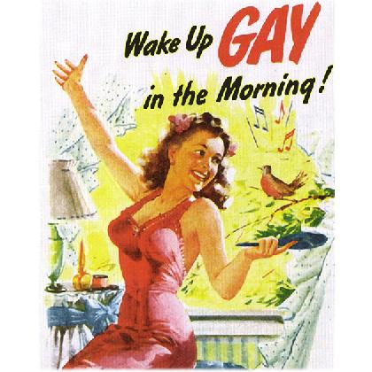 WAKE UP GAY IN THE MORNING T-SHIRT Image
