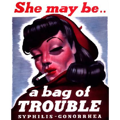 SHE MAY BE A BAG OF TROUBLE T-SHIRT Image