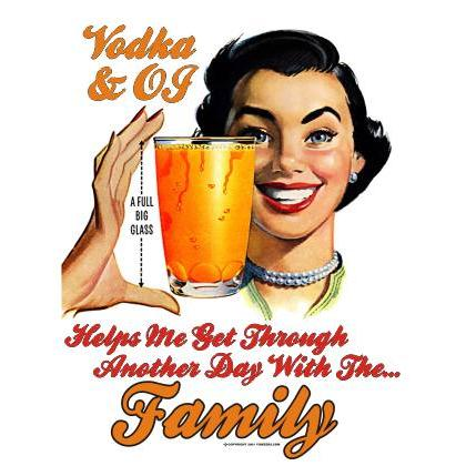 VODKA & OJ GETS ME THROUGH THE DAY T-SHIRT Image