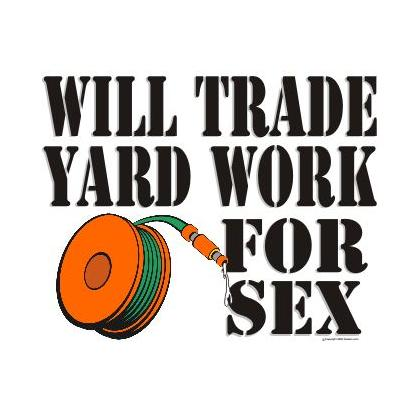 WILL TRADE YARD WORK FOR SEX T-SHIRT Image