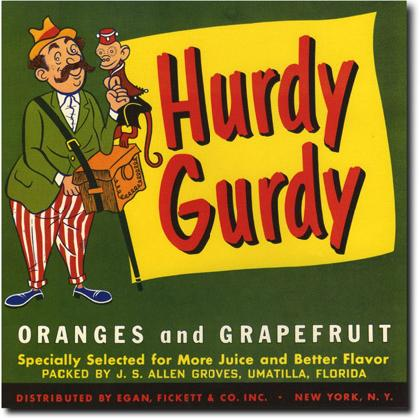 HURDY GURDY ORANGES CRATE LABEL T-SHIRT Image