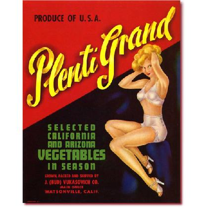 PLENTI GRAND PIN UP GIRL CRATE LABEL T-SHIRT Image