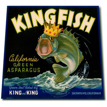 KINGFISH CALIFORNIA ASPARAGUS CRATE LABEL T-SHIRT Image