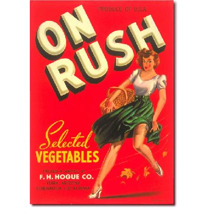 ON RUSH PIN UP GIRL CRATE LABEL T-SHIRT Image