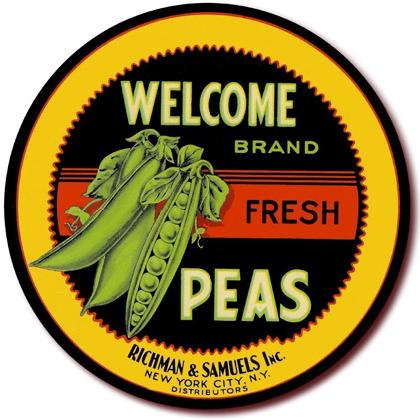WELCOME BRAND FRESH PEAS CRATE LABEL T-SHIRT Image