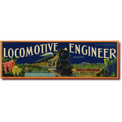 LOCOMOTIVE ENGINEER CRATE LABEL T-SHIRT Image