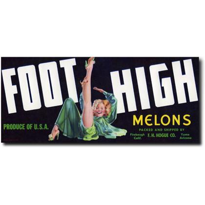 FOOT HIGH MELONS CRATE LABEL T-SHIRT Image