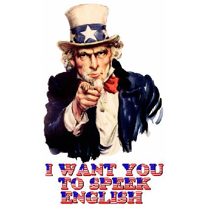 UNCLE SAM I WANT YOU TO SPEAK ENGLISH T-SHIRT Image